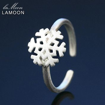 Lamoon Cute Wire Drawing 9*9mm Snowflake 925-Sterling-Silver Adjustable Ring S925 Fine Jewelry Creative Gift for Girl LMRY008