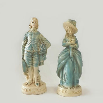 Vintage Chalkware Colonial Couple Figurines, Lady and Gentleman Statues in Blue & Cream, Cottage Chic Home Decor