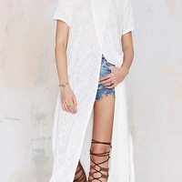 White Cross Front Short Sleeve Loose Mid Dress with Slits