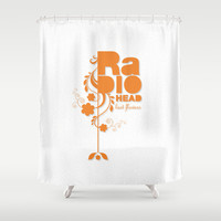 "Radiohead ""Last flowers"" Song / Orange version Shower Curtain by LilaVert"