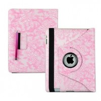 Ctech 360 Degrees Rotating Stand (Pink) Stylish Embossed Flowers Case for iPad 3 / The New iPad (3rd Generation) /iPad 2 with Bonus Stylus, Supports Smart Cover Wake/Sleep Function