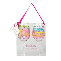 Acrylic Wine Glasses in Meet Me At The Beach by Lilly Pulitzer