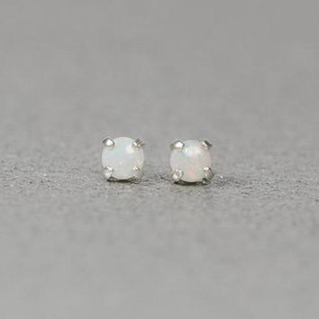 Sterling Silver Genuine Australian White Opal Small Stud Earrings