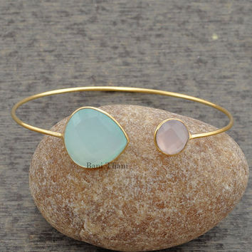 Aqua Chalcedony 16mm, Pink Chalcedony 10mm Bangle - Bracelets- Gold Bangle - Gemstone Bangle - Sterling Silver Bangle #1417
