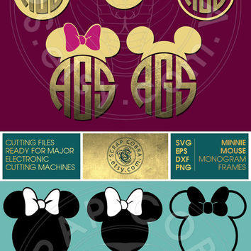 5 Mouse Ears with Bow Monogram Frames - SVG, eps, DXF, PNG - Cut Files for Silhouette, Cricuit, other electronic cutting machines - cv-128