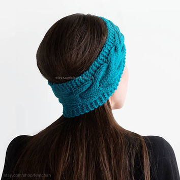 Hand knit headband, cable hairband, bright marine green, womens ear warmer, chunky wool headband, green turban, textured knit, gift for her