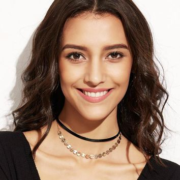Disc/Coin Top Layer Choker Necklace