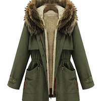 Womens Fur Hooded Cotton Winter Coat faux fur lining Jacket Parka outwear Coats