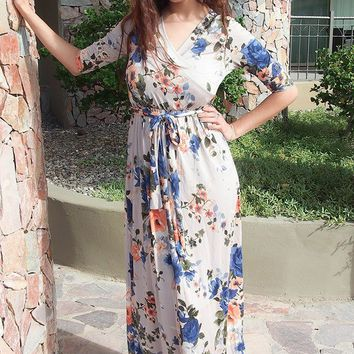 That's A Wrap Magnolia Blooms Cream Floral Print Maxi Dress