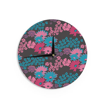 "Zara Martina Mansen ""Berry Color Bouquet"" Teal Pink Wall Clock"