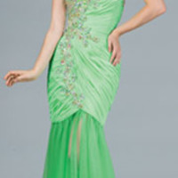 2014 Prom Dresses - Mint Beaded Strapless Mermaid Dress
