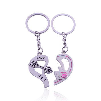 2015 Popular Casual Couple Key Chains Lover Love Heart Keychain Clover Love You Key Ring Women Jewelry Accessory Valentine Gift