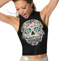 Halloween Skull Sleeveless Turtleneck Bodycon Cropped Top