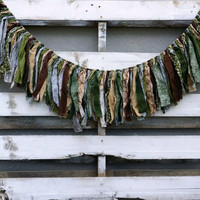 Woodland Rag Tie Garland, Woodland Fabric Banner, Woodland Decor
