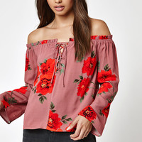 Kendall and Kylie Long Sleeve Lace-Up Off-The-Shoulder Top at PacSun.com
