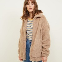 Cream Faux Teddy Fur Bomber Jacket | New Look