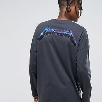 ASOS Metallica Oversized Band Long Sleeve T-Shirt With Back and Cuff Print at asos.com