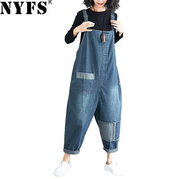 NYFS New Women Fashion jumpsuit female playsuits Cotton Denim jumpsuit elegant Jeans jumpsuit