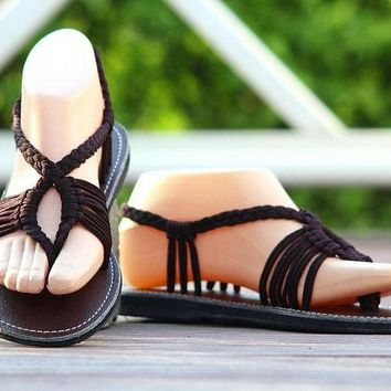 Handmade sandal-Made to order-T strap style-Dark brown color