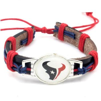 New Arrival Houston Texans Football Team Leather Bracelet Adjustable Leather Cuff Bracelet For Men and Women Fans 10PCS
