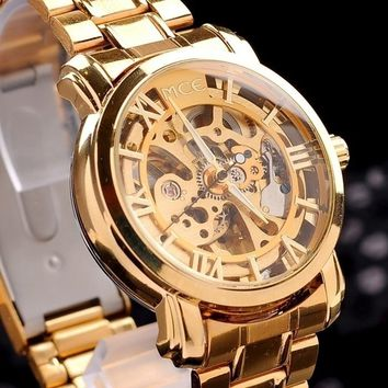 Unisex Golden Steel Luxury Watch Automatic Gold Skeleton Mechanical Watch with Gift Box