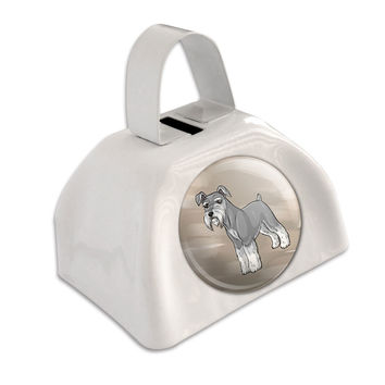 Miniature Schnauzer Pet Dog White Cowbell Cow Bell