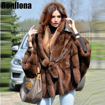 2018 New Real Mink Fur Coat With Hood Bat Sleeved With Belt Luxury Mink Fur Coat Winter Genuine Fur Jacket Women Natural MKW-096