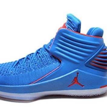 Jordan Men's Retro XXXII Russ Signal Blue/Team Orange-MTLC Silver