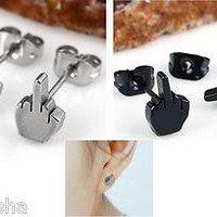 Stainless Steel Classic Middle Finger Cool Earrings Ear Stud Punk
