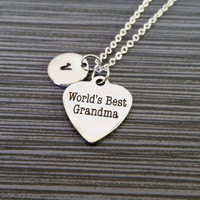 World's Best Grandma Necklace - Mothers Day Necklace - Grandmother Personalized Necklace - Custom Initial Necklace - Grandma Gift