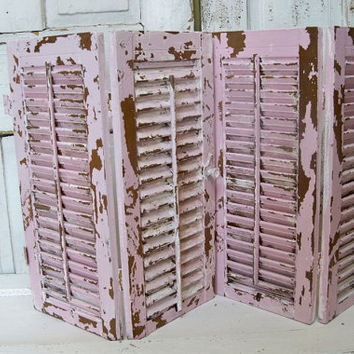 Hinged wooden shutters set of two hand painted Shabby chic pink distressed home decor  Anita Spero