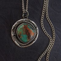 Old Pawn Vintage NATIVE American NAVAJO Sterling Silver TURQUOISE Pendant Chain Stampings c.1940's