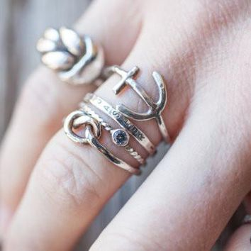 Nautical Stackers {sterling artisan handmade stacking rings anchor knot twisted gemstone personalized stamped name band}