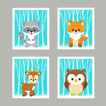 Woodland Animals, Forest Animals on Aqua, CUSTOMIZE COLORS, 8x10 Prints, set of 4, Nursery Decor, Animal Print, Baby Boy Wall Prints