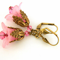 Pink Crystal and Flower Drop Earrings Handcrafted Lucite Brass Short