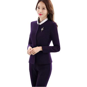 Fmasuth Business Ladies Pant Suit kostium for Women Full Sleeve Blazer Jacket +Long Pant 2 Pieces Trouser Uniform Set ow0382