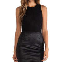 Nightcap Vegan Leather and Lace Dress in Black