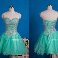 New A-line beading short prom dresses short evening dress beading party dresses