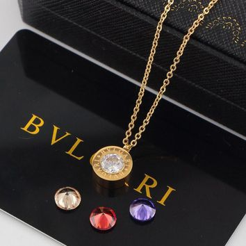 8DESS Bvlgari Women Fashion Rhinestone Plated Chain Necklace
