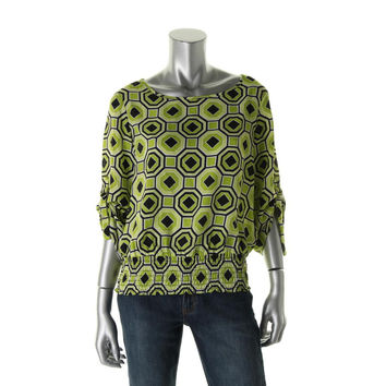 MICHAEL Michael Kors Womens Petites Pattern Banded Bottom Pullover Top