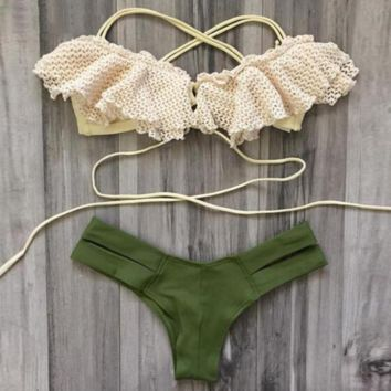 Natural Lace-Up Bikini
