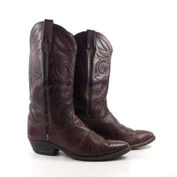 Men's cowboy boots Vintage 1980s Men's Burgundy Acme Distressed size 9