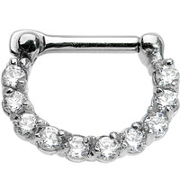 "14 Gauge 5/16"" Surgical Steel Clear CZ Septum Clicker 
