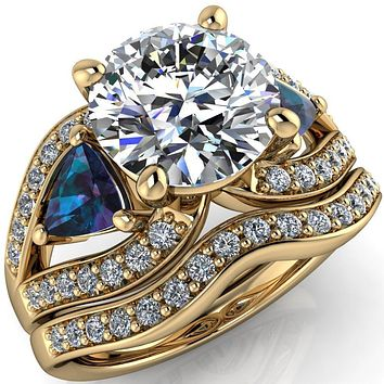 Kassandra Round Moissanite 4 Prong Trillion Alexandrite Side Split Shank Accent Engagement Ring