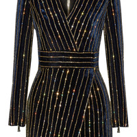 Balmain - Embellished velvet mini dress