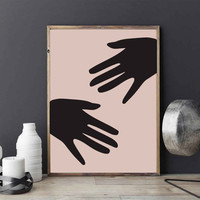 Hands Poster, Hands Print, Minimalist Poster, Minimalist Print, Contemporary Art, Abstract Art, Abstract Wall Decor, Modern Home Decor.