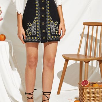 Embroidered Botanical Button Up Skirt