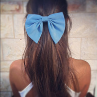 BIG Blue bow unique hair bow