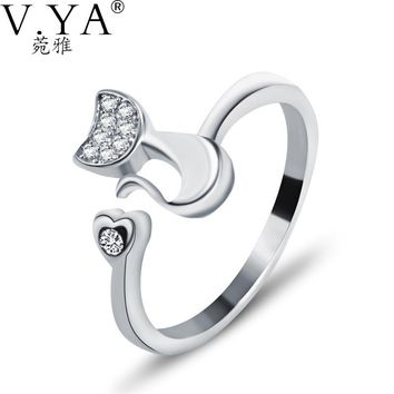 S925 Solid Silver Open Size Rings for Women Jewelry Crystal Cat Shape Ring 100% Real Genuine 925 Sterling Silver Ring CR47