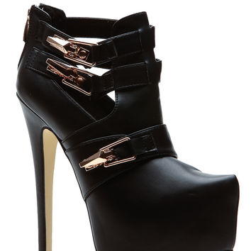 On the Edge Black Platform Booties
